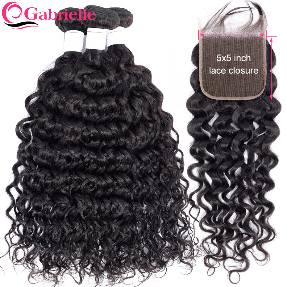 Gabrielle Water Wave Bundles with 5x5 Closure Brazilian Remy Hair Weave Bundles with Lace Closure 100