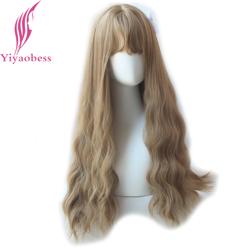 Yiyaobess 65cm långa wavy peruker med bangs värmebeständig - Syntetiskt hår - Foto 1