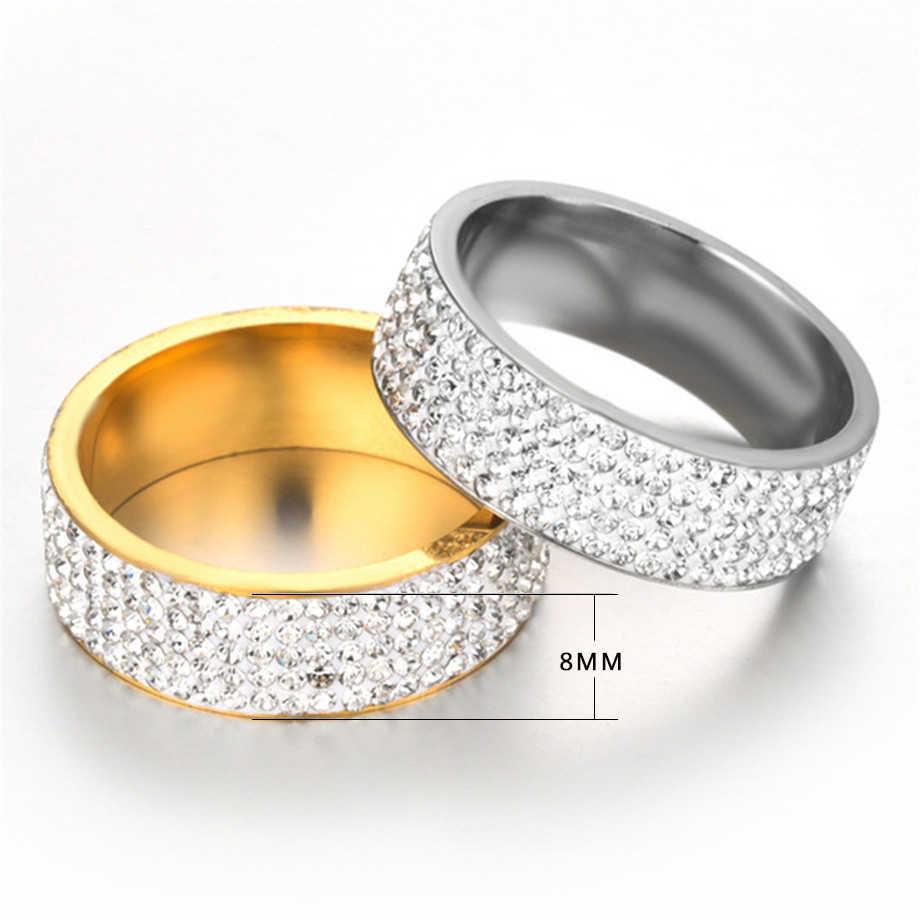 Хип-хоп ювелирные изделия Iced Out обручальное кольцо серебряное Золотое кольцо из нержавеющей стали кольца для женщин и мужчин оптовая продажа Женское кольцо