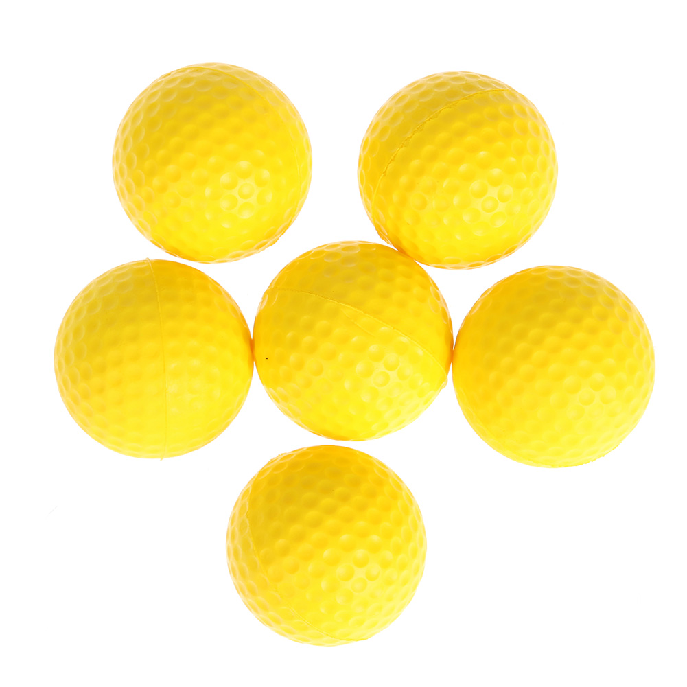 6pcs Golf PU Ball Interior Beginner Training Softball Yellow Round Golf Practice Training Sports Ball Golf Balls New
