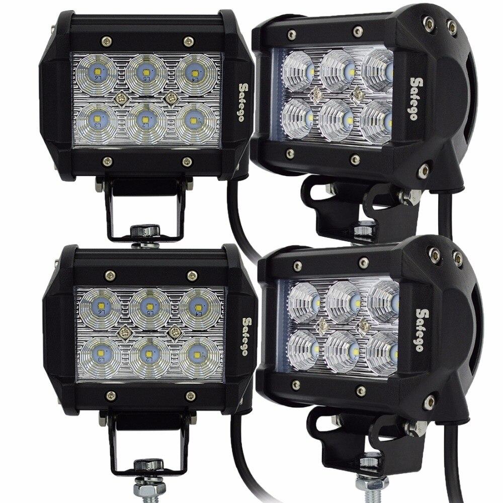 Safego 4 pcs moto a mené le projecteur led 18 w led travail lumière 1800 lm led lumière bar Spot Faisceau D'inondation offroad voiture camion tracteur 4x4