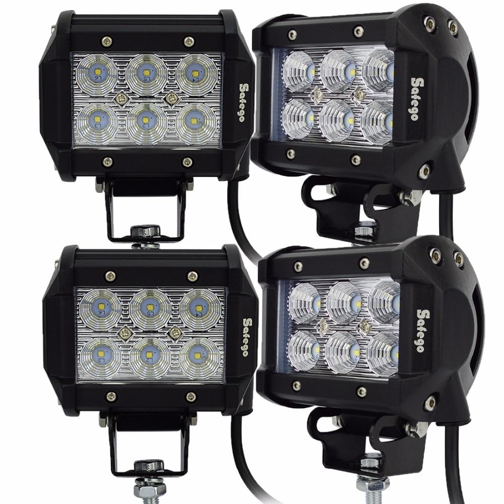 Safego 4pcs motocicleta proyector led led 18w luz de trabajo led 1800 - Luces del coche