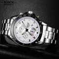 BOSCK Fashion Quartz Watches Men 3 Eyes Time Calendar Waterproof Shock Men's Sports Hub Watches Military Watch 3102 reloj hombre