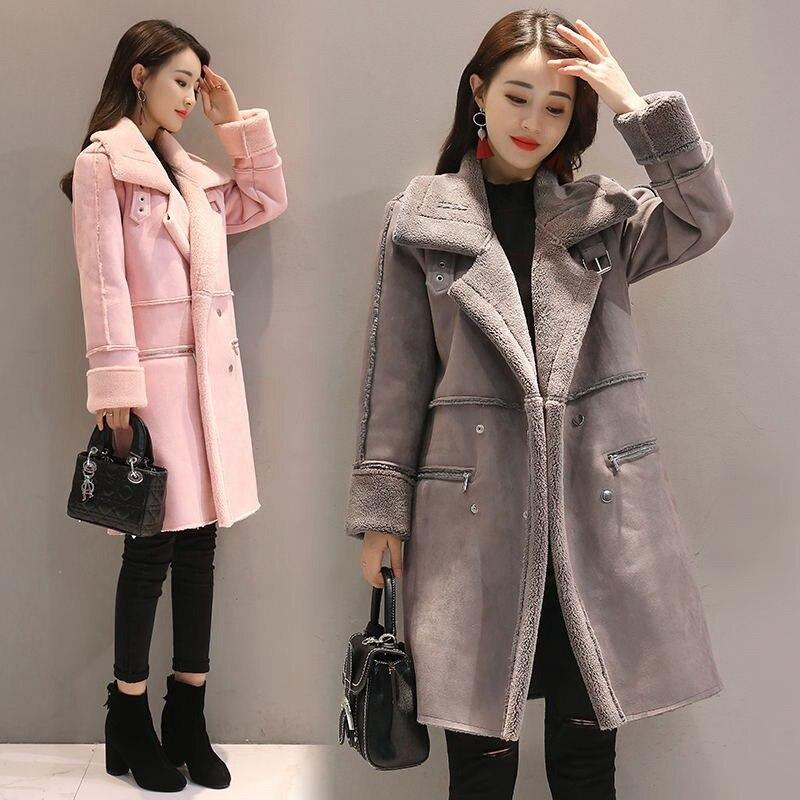 2017 fashion warm woolen winter jacket women thick imitation daim lamb coat women manteau femme