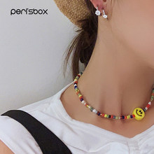 Peri'sbox Trendy Beaded Funny Face Choker Necklace Handmade Seed Bead Colorful Flower Necklace Chokers Summer Instajewery Choker(China)