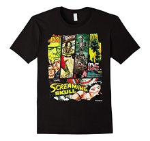 Vintage Style Sci Fi Horror Movie Poster Collage T-Shirt Hip Hop Clothing Cotton Short Sleeve T Shirt Top Tee Plus Size
