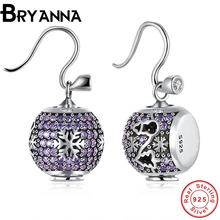 Bryanna Valentines gifts Fashion luxury Full Shiny purple rhinestone snowflakes Crystal earrings for women jewelry PDRSVE016