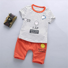 2017 New Summer baby sets boys clothes cotton o-neck shorts with character print children toolders clothing set suit