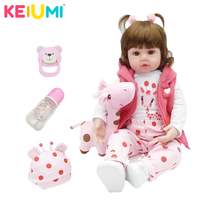 KEIUMI Hot Sale bebes Reborn Doll 47cm Silicone Reborn baby doll Cloth Body Adorable Lifelike toddler Bonecas Girl Doll For Kids