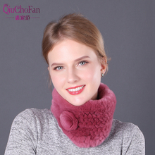 Winter Women Real Rex Rabbit Fur Scarf 100% Natural Warm Ring Muffler Lady Quality Genuine Scarfs