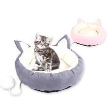 High Quality Cute Cartoon Cat Beds Pet Dog Pad Sleeping Bed Warm Comfortable Round Nest Pink Gray M L
