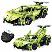 453pcs Technic Serie Afstandsbediening Sportscar Racer Auto 'S Compatibel Legoingly RC Auto Bouwstenen Sets Verlichten Bakstenen Speelgoed