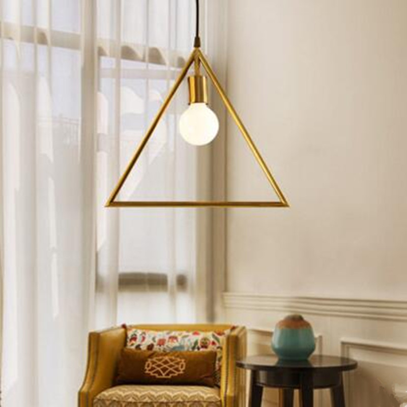 American Industrial Retro Copper Lamp Individual Creative Living Room Bar Restaurant Loft Geometry Chandelier Free Shipping nordic american country retro industrial loft restaurant bar creative personality living room small metal frame lamp chandelier