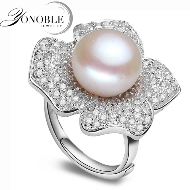 Lady pearl ring Big freshwater natural Pearl Rings 925 sterling silver pearl ring wedding women best birthday gift top quality