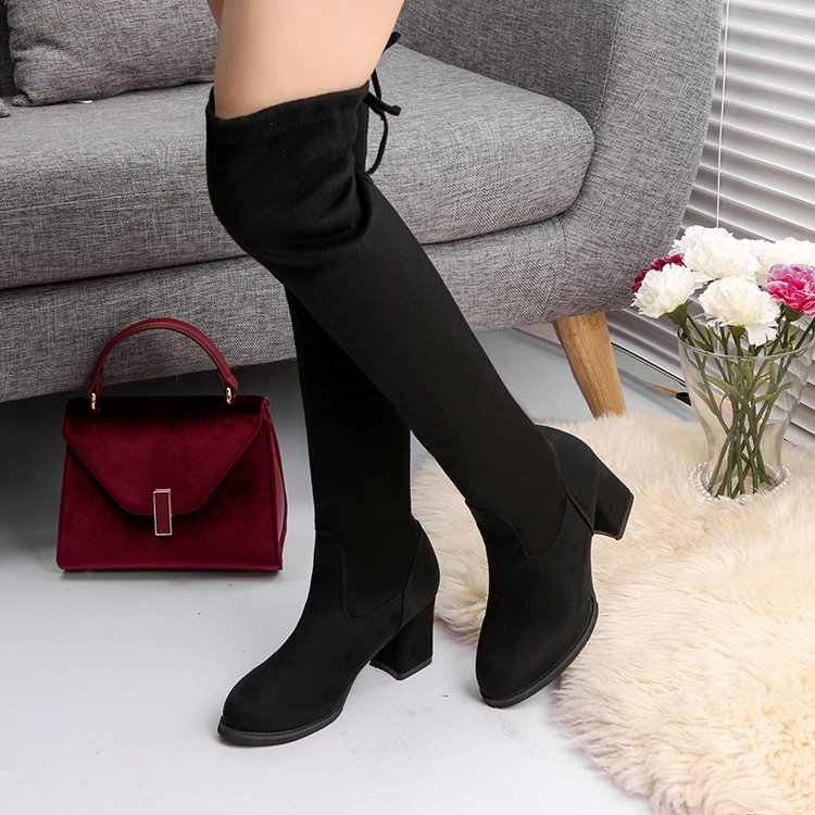 Kadın Rahat Diz botları ayakkabı Kış kadın Kadın Yuvarlak Ayak Platformu yüksek topuklu pompalar Sıcak Botlar bayan Uyluk yüksek Çizmeler