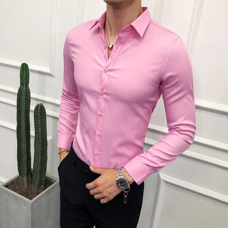 Fashion 2019 Business Men Shirt Brand New Slim Fit Solid All Match Dress Shirts Men Long Sleeve Simple Prom Tuxedo Blouse Homme