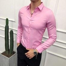 Рубашка мужская деловая приталенная, модная однотонная универсальная классическая, с длинным рукавом, для выпускного вечера, смокинга, 2019