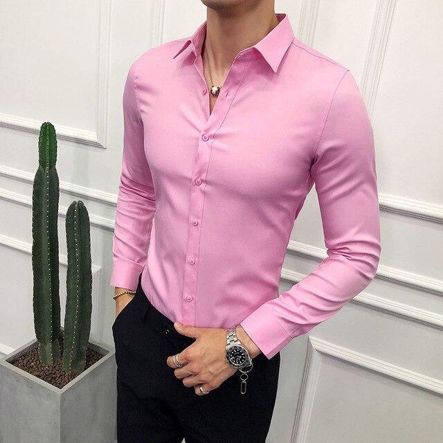Moda 2019 iş erkek gömlek marka yenİ Slim Fit katı tüm maç elbise gömlek erkekler uzun kollu basit balo smokin bluz Homme