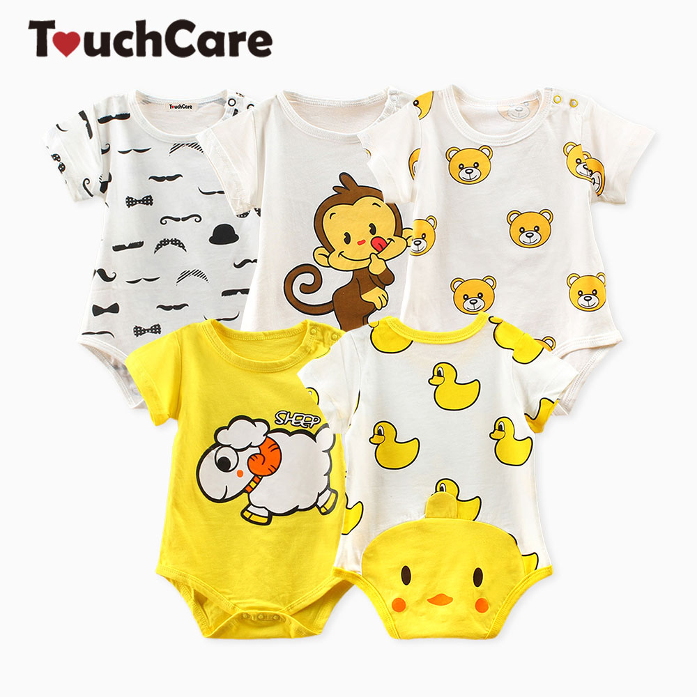 Touchcare Newborn Baby Boy Girl Clothes Infant Short Sleeve Baby Romper Summer Little Yellow Duck Baby Jumpsuit Toddler Rompers newborn baby boys girls rompers infant short sleeve cotton jumpsuit clothing mama s boy printed summer clothes boy romper