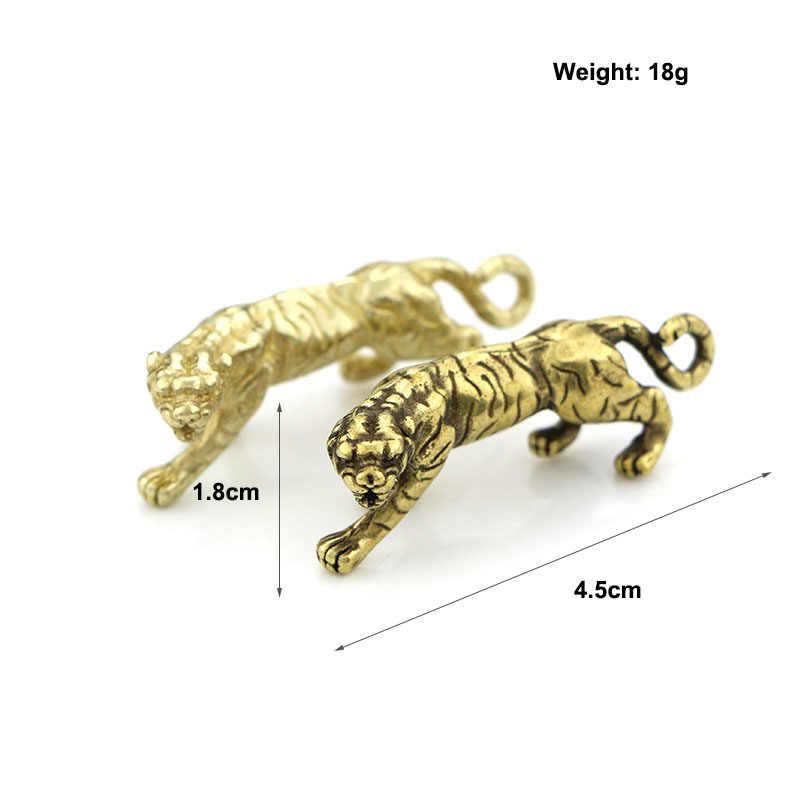 ทองแดง Tiger Key VINTAGE Glossy ทองเหลืองจี้ Trinket จีน Zodiac Tigers Charms เครื่องประดับพวงกุญแจเครื่องประดับ