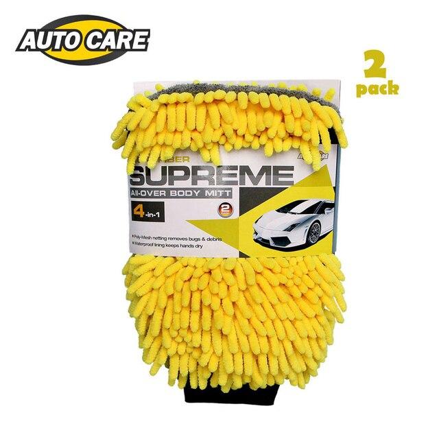 2pcs Waterproof Car Wash Mitt Microfiber Chenille Glove 4 In 1 Multi function Thick Car Cleaning Mitt Car Wax Detailing Tool