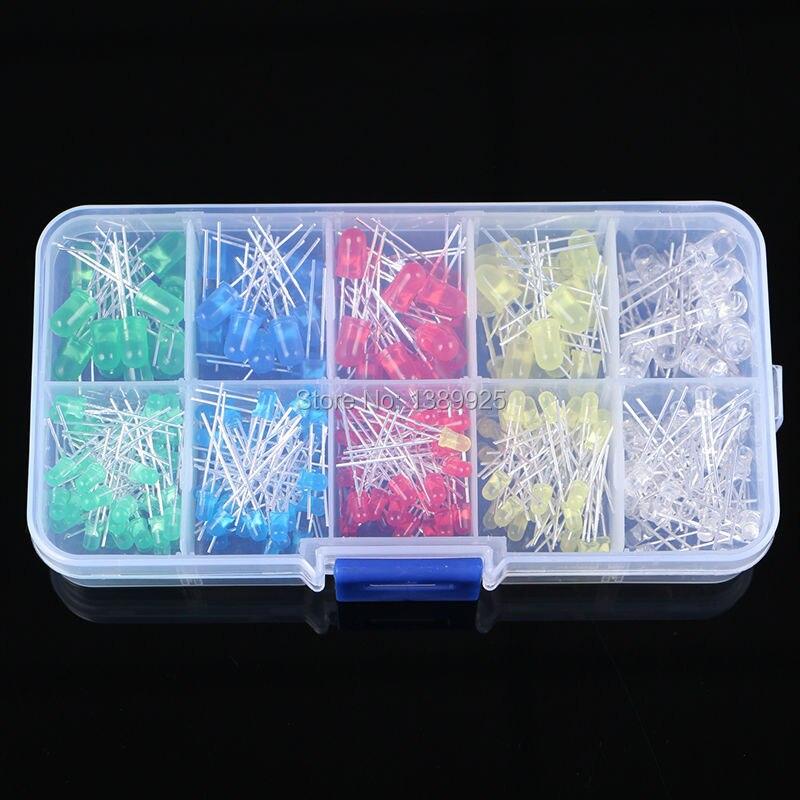 O envio gratuito de 300 pçs 3mm 5mm led luz branca amarelo vermelho verde azul sortido kit diy leds conjunto 3 v 20ma