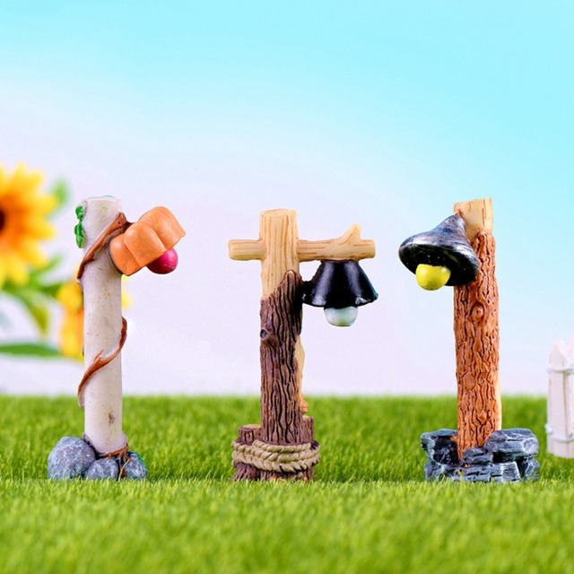 US $0 98 38% OFF|Cute Mini Street Lamp Streetlight Micro World Photography  Props Miniature Garden Ornament Fairy Garden Resin Craft Decor Gift-in