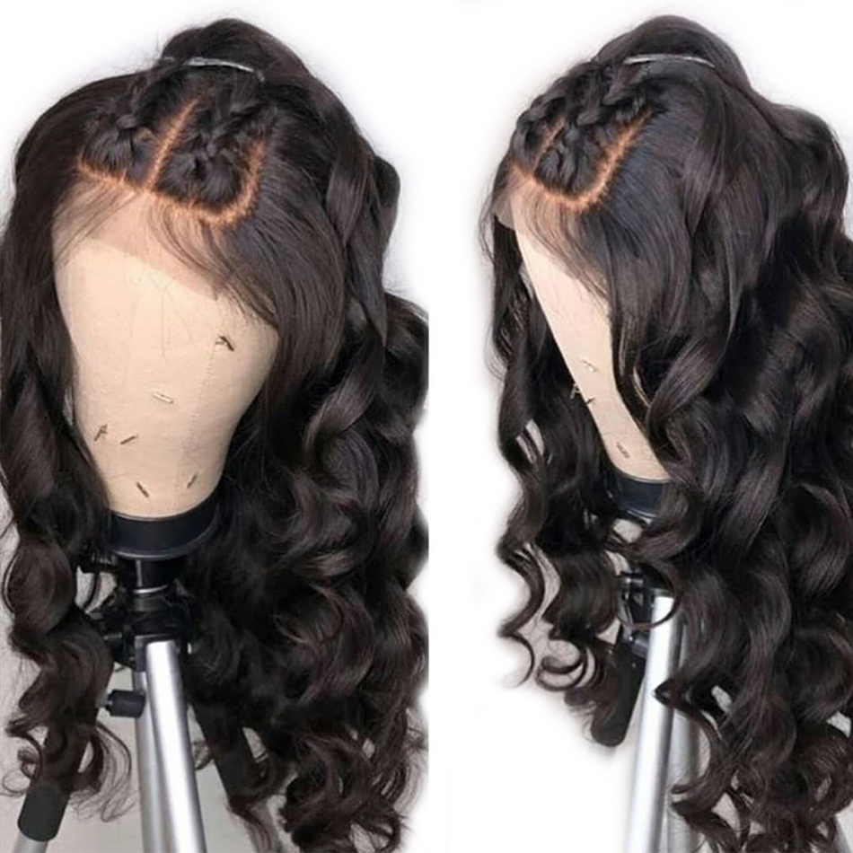 LUFFYHAIR High Density 250% Wavy Lace Front Wig Remy Brazilian Human Hair Pre Plucked Deep Parting 13x6 Deep Parting Baby Hair