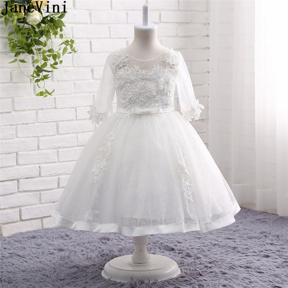 JaneVini 2019 Lovely White   Flower     Girl     Dresses   Scoop Neck Appliques Sequined Beaded Half Sleeves Lace A Line Pageant Party Gowns
