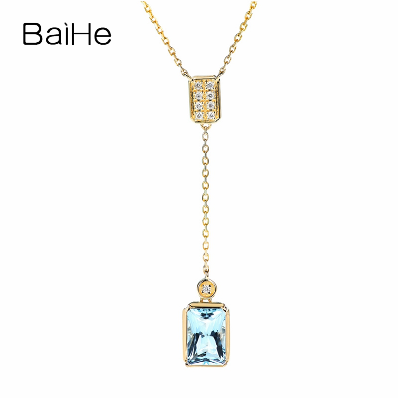 BAIHE Solid 18K Yellow Gold 1ct Natural Aquamarine Wedding Women Trendy Fine Jewelry Exquisite vintage tassel Gift Necklaces image