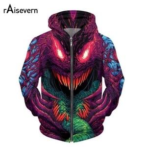 Image 1 - Raisevern yeni moda fermuarlı kapüşonlu kıyafet hiper beast 3D baskı Zip Up Hoodies Psychedelic kazak erkekler/kadınlar Harajuku kıyafetler üstleri