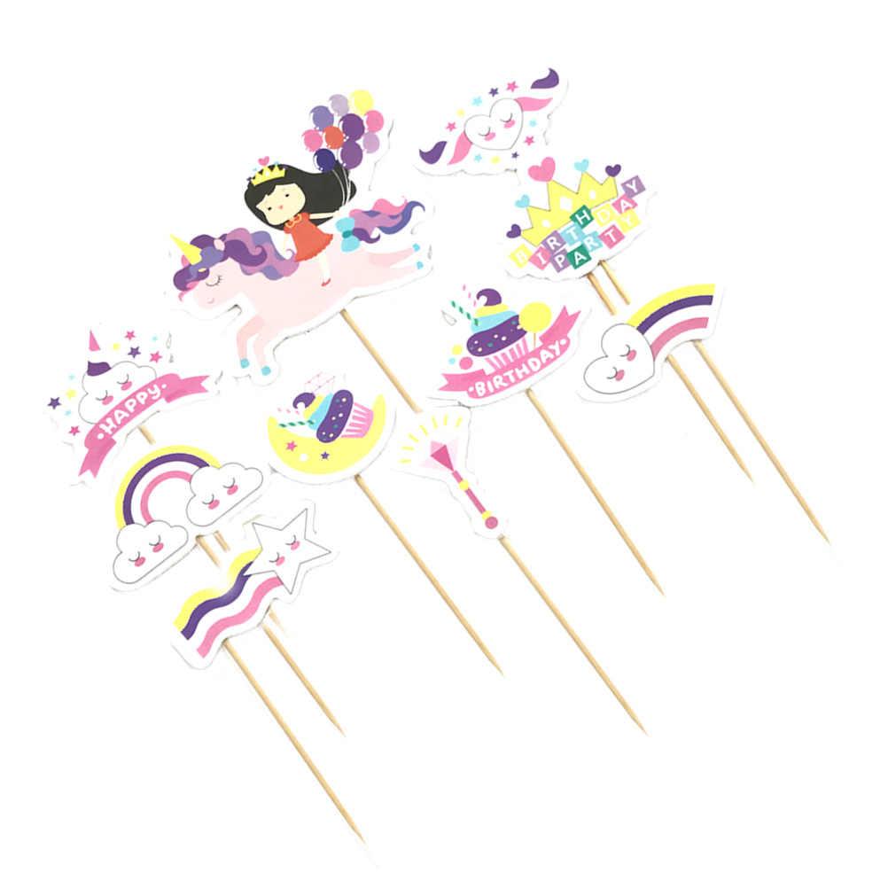 10 шт. Единорог Торт Топперы маленький воздушный шарик для девочек Вечеринка день рождения десерт торт вставки карты Вымпел декор край полосы Набор