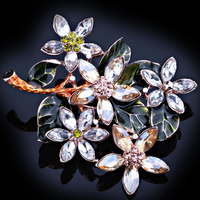 FARLEENA Fashion Jewelry Color Crystal Large Wishing Tree Scarf Pins And Brooches Elegant Painted Brooch For