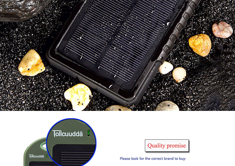 Tollcuudda Solar Panel Power Bank 100mAH Battery External Celular Charger Cargador For Xiao Mi universal Phone Solar PoverBank 28