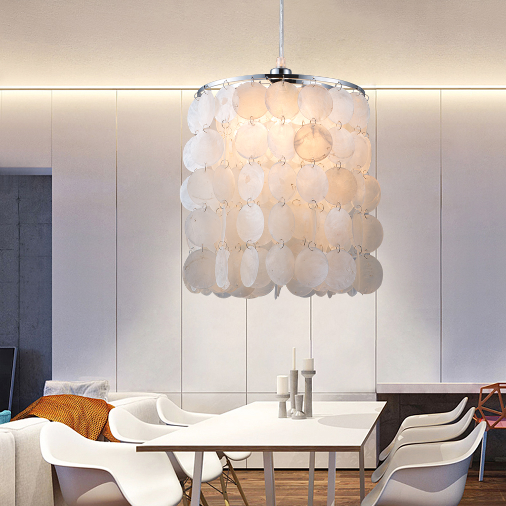 DIY modern white natural seashell pendant lamps E14 LED ...