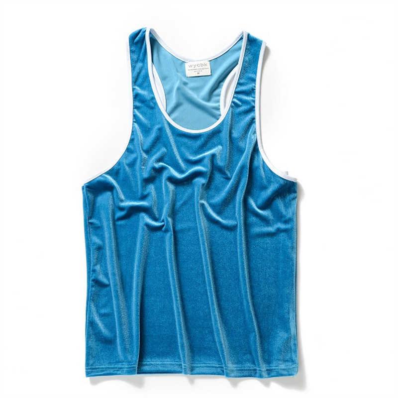 Nowe letnie męskie ponadgabarytowe welurowa koszulka bez rękawów kamizelka moda ćwiczenia Hip Hop Casual Fitness podkoszulek aksamitna podkoszulek podkoszulek