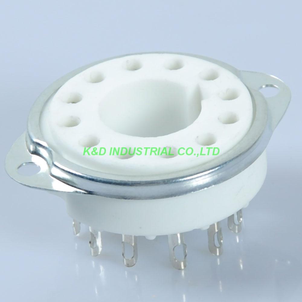2pcs Ceramic Vacuum new Tube Socket 12Pin DG7-32 CRT PMT 5UP1 Guitar Valve B12A Base for Tube Amplifier
