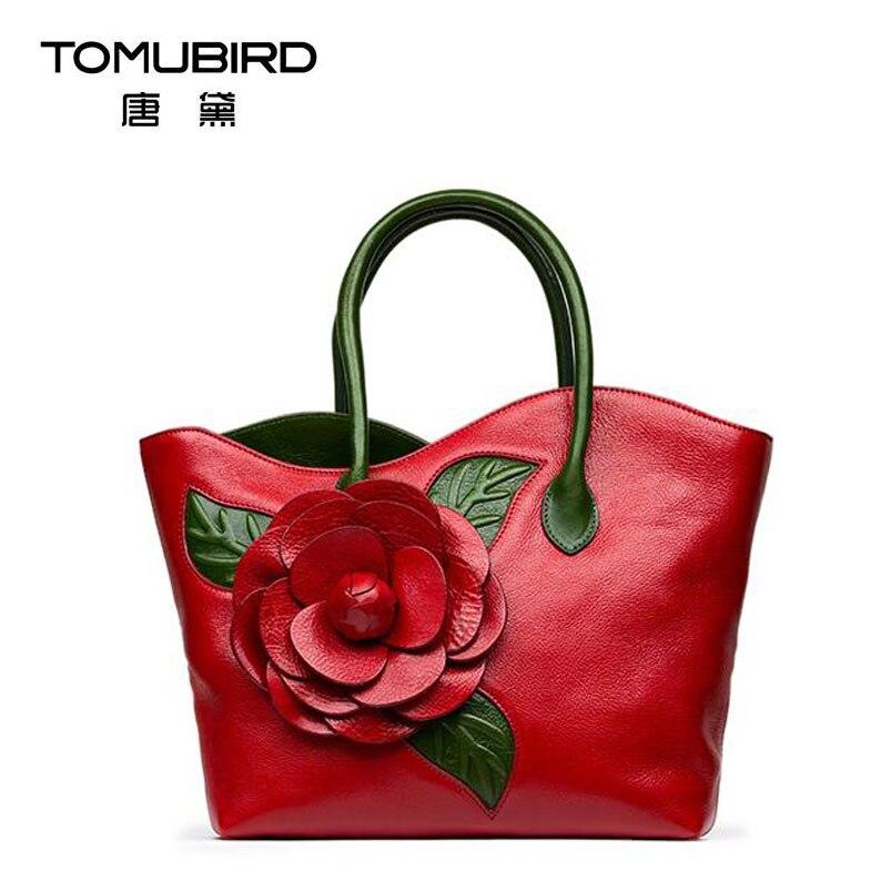 2016 New women genuine leather bag famous brands quality  handmade dimensional flowers women leather handbags shoulder bag