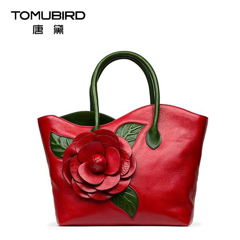 2017 New women genuine leather bag famous brands quality handmade dimensional flowers women leather handbags shoulder bag