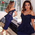 2016 Sexy Sheath Off The Shoulder Prom Dresses Applique Beaded Backless Cocktail Gowns Tea Length Party Dresses
