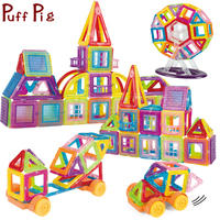 128PCS Mini Magnetic Building Blocks Bricks Set Construction 3D Castle Cars Model Enlighten DIY Magnet Toys Gifts for Kids Child