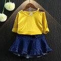 2016 Новая мода осень новорожденных девочек майка 100% хлопок чистый цвет осень детской одежды для детей футболки топ tee