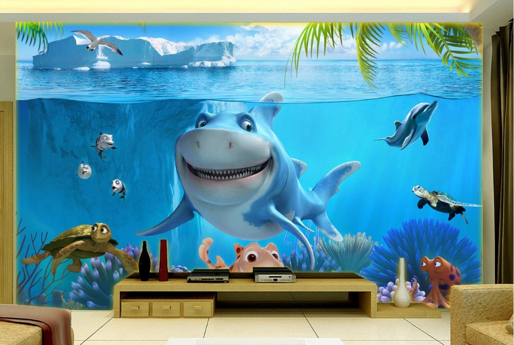Buy non woven wallpaper underwater world for 3d wall murals for kids