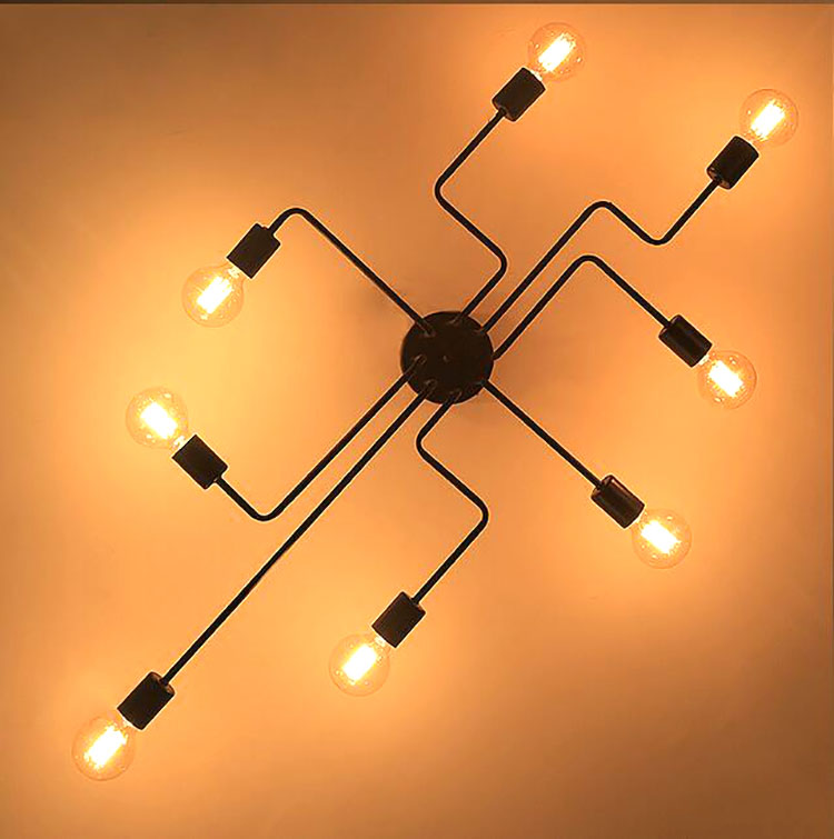 4 6 8 Heads Multiple Rod Wrought Iron Ceiling Light Retro