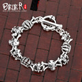 Beier 925 sterling silver bracelet top quality new style biker man bracelet  punk crown hand chain SCTYL0049