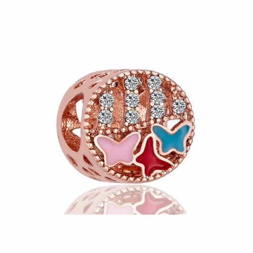 Великолепный Кристалл Микки Маус бабочка цветок Четырехлистный Клевер Шарм для браслета Pandora европейские браслеты для женщин DIY Bijoux