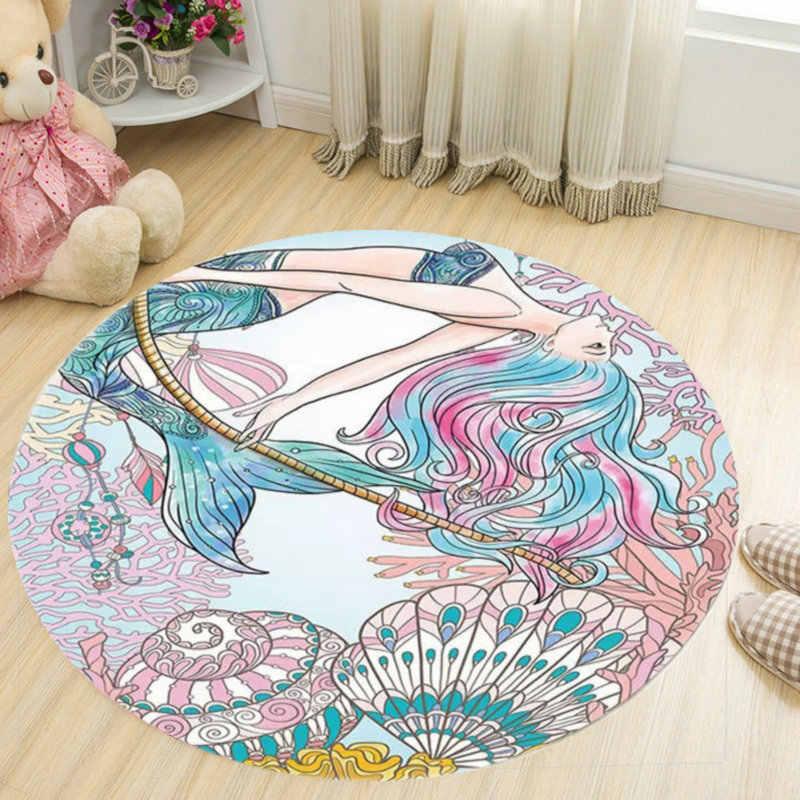 Креативный узор девочка Печатный мягкие ковры анти-скользящие коврики компьютер подушка для стула напольный коврик для в детскую комнату дома круглый ковер