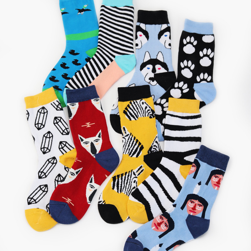 Energetic Fouretaw 1 Pair Street Fashion Japanese Harajuku Style Zebra Stripe Fox Pattern Cotton Personality Love Unisex Mens Socks To Ensure A Like-New Appearance Indefinably Underwear & Sleepwears