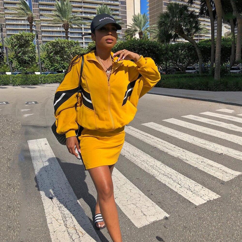 Manga larga Patchwork chaqueta de chándal y Mini falda de dos piezas conjuntos de las mujeres Top prendas Slim Bodycon falda Streetwear