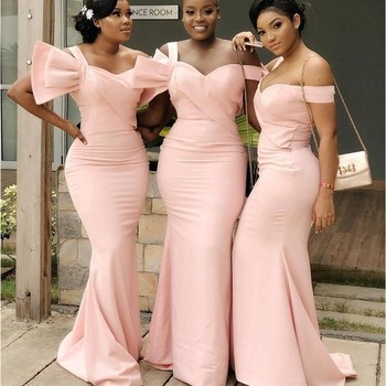 Pink Satin African Bridesmaid Dresses Sweetheart Off the Shoulder Long Wedding Party Dress for Women vestido longo Free Shipping